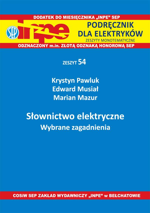 Słownictwo elektryczne Wybrane zagadnienia INPE 54